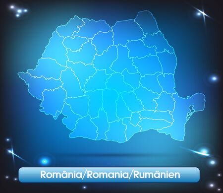Map of Romania with borders with bright colors