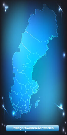 sverige: Map of Sweden with borders with bright colors