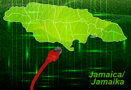 black maria: Map of Jamaica with borders in network design