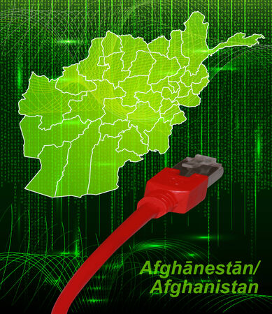 Map of Afghanistan with borders in network design Stock Photo