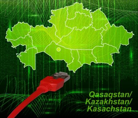 lan: Map of kazakhstan with borders in network design