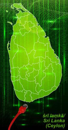 lanka: Map of Sri Lanka with borders in network design