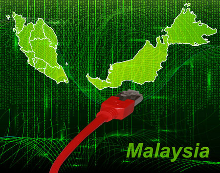 Map of Malaysia with borders in network design
