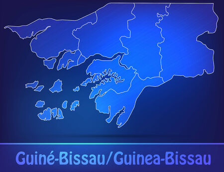guinea bissau: Map of Guinea Bissau with borders as scrible Stock Photo
