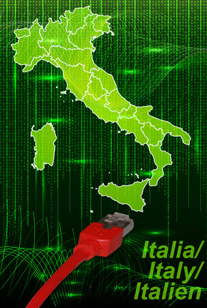 terni: Map of Italy with borders in network design Stock Photo