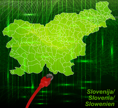Map of Slovenia with borders in network design Stock Photo