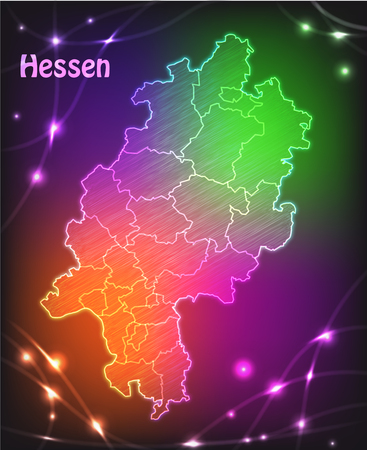 frankfurt germany: Map of Hesse with borders as colorful scribbble Stock Photo