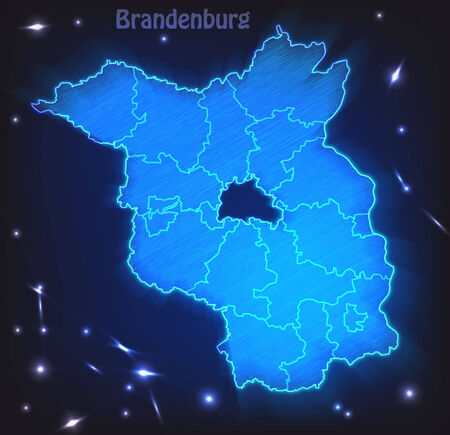 falkensee: Map of Brandenburg with borders as scrible