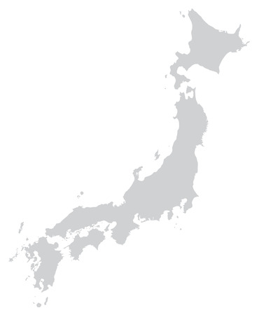 Map of Japan with borders in gray