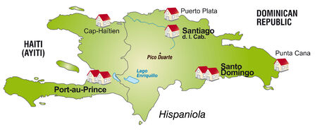 Map of hispaniola as an infographic in green photo