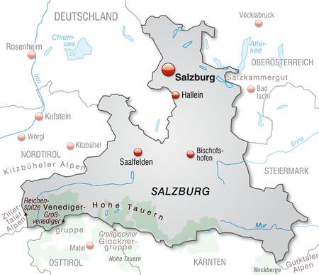 saalfelden: Map of salzburg as an overview map in gray