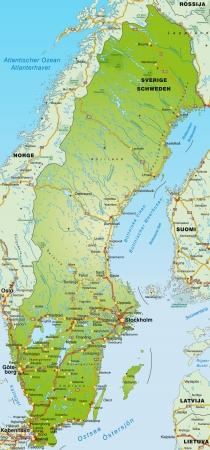 sverige: Map of Sweden with highways