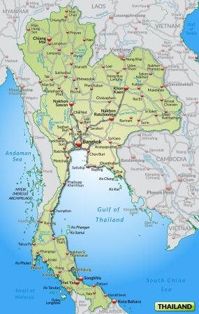 Map of Thailand with highways in pastel green photo