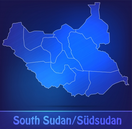 south sudan: Map of South Sudan with borders as scrible Stock Photo