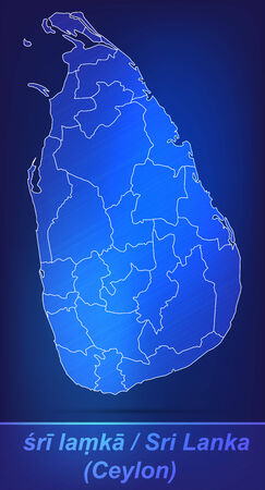 ceylon: Map of Sri Lanka with borders as scrible Stock Photo
