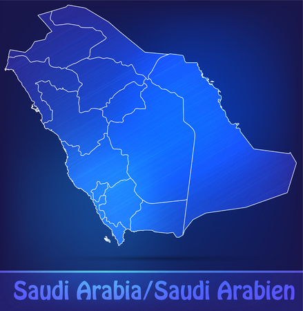 Map of Saudi Arabia with borders as scrible Stock Photo