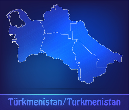 turkmenistan: Map of turkmenistan with borders as scrible