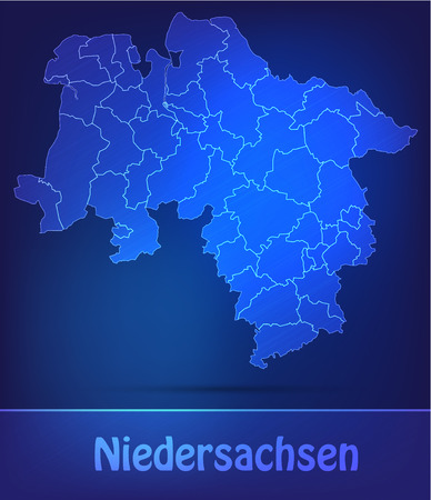 Map of Lower Saxony with borders as scrible photo