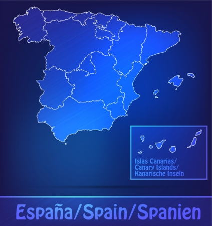 bilbao: Map of Spain with borders as scrible Stock Photo