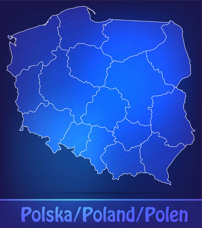 wroclaw: Map of Poland with borders as scrible