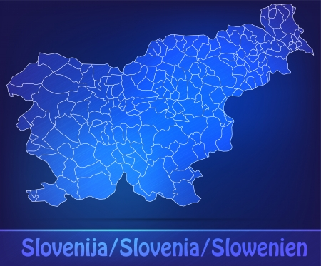 Map of Slovenia with borders as scrible