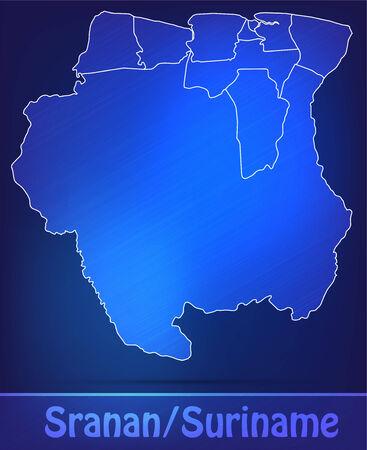 suriname: Kaart van Suriname met randen als scrible Stockfoto