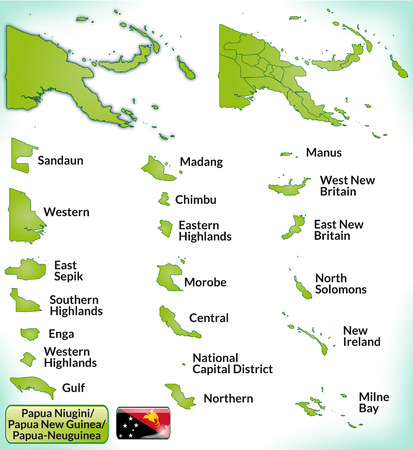 papua: Map of Papua New Guinea with borders in green