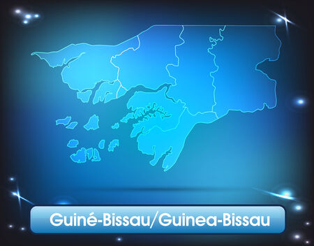 guinea bissau: Map of Guinea Bissau with borders with bright colors