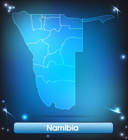 kalahari desert: Map of Namibia with borders with bright colors