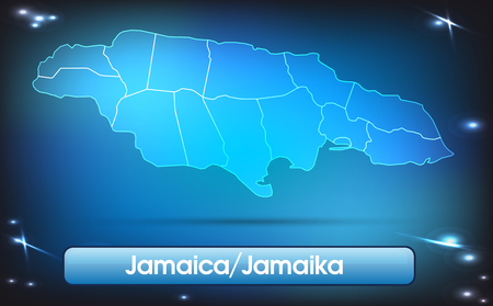 black maria: Map of Jamaica with borders with bright colors