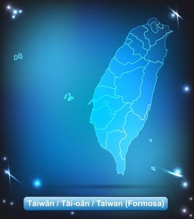 Kaart van Taiwan met grenzen met heldere kleuren