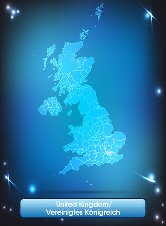 Map of England with borders with bright colors photo