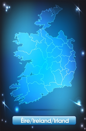 dun: Map of Ireland with borders with bright colors