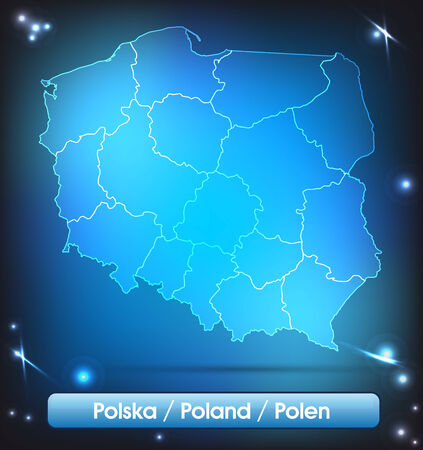 gdansk: Map of Poland with borders with bright colors Stock Photo