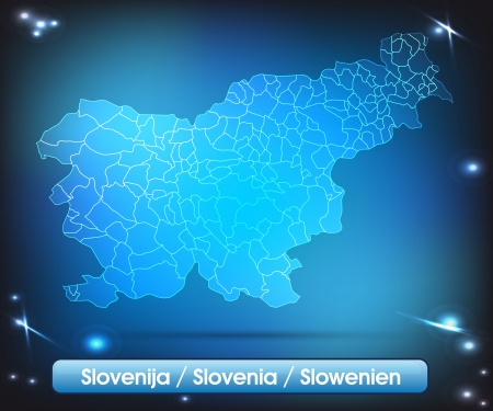 Map of Slovenia with borders with bright colors