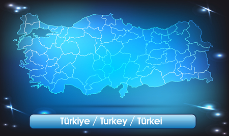 bursa: Map of Turkey with borders with bright colors