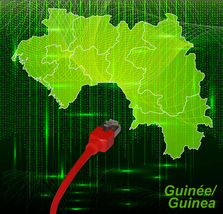 Map of Guinea with borders in network design Stock Photo