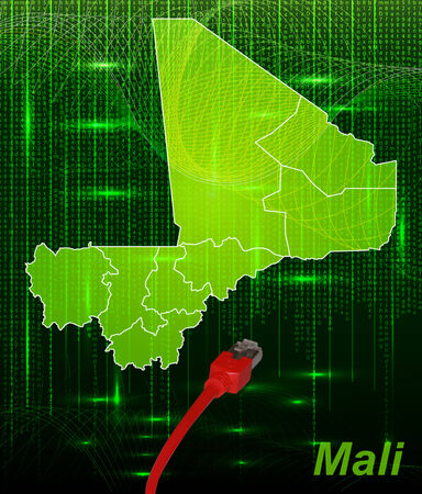 Map of mali with borders in network design Stock Photo