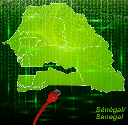 lan: Map of Senegal with borders in network design
