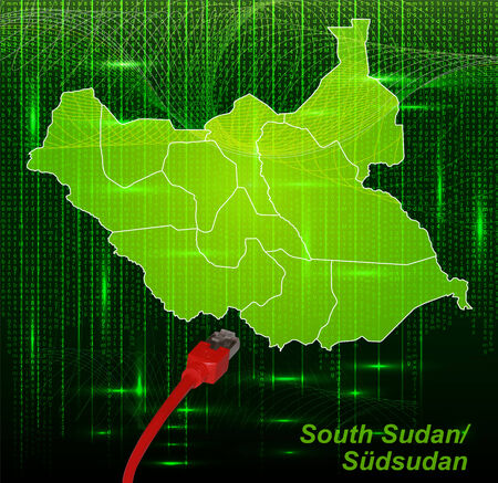 south sudan: Map of South Sudan with borders in network design