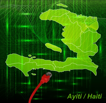 lan: Map of Haiti with borders in network design Stock Photo