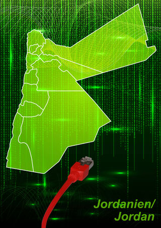 lan: Map of Jordan with borders in network design Stock Photo