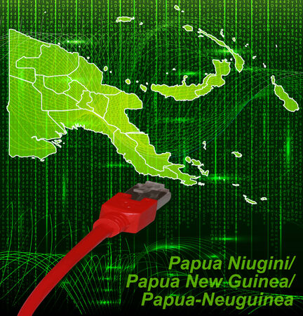 lan: Map of Papua New Guinea with borders in network design