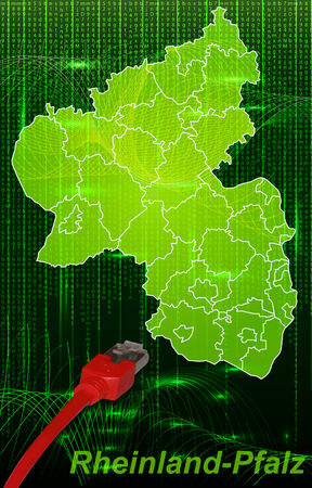 lan: Map of Rhineland-Palatinate with borders in network design Stock Photo