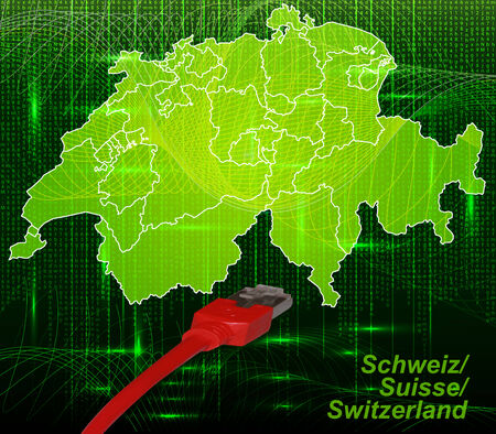 Map of Switzerland with borders in network design Stock Photo