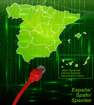 bilbao: Map of Spain with borders in network design