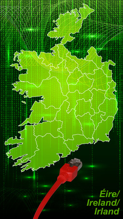 Map of Ireland with borders in network design