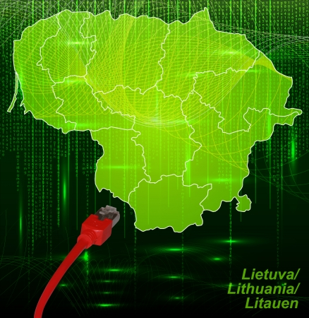 lan: Map of Lithuania with borders in network design