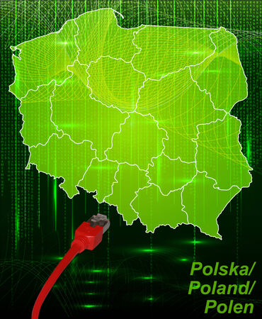 gdansk: Map of Poland with borders in network design