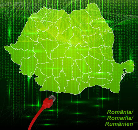 Map of Romania with borders in network design